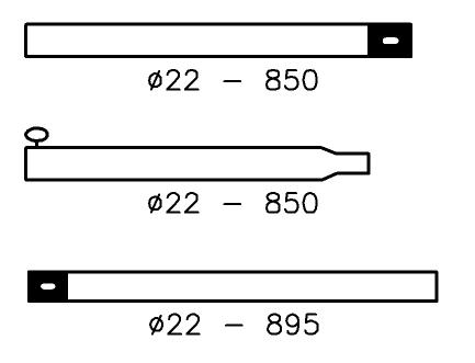 Nokstok Staal 22/19 mm; 180-250 cm