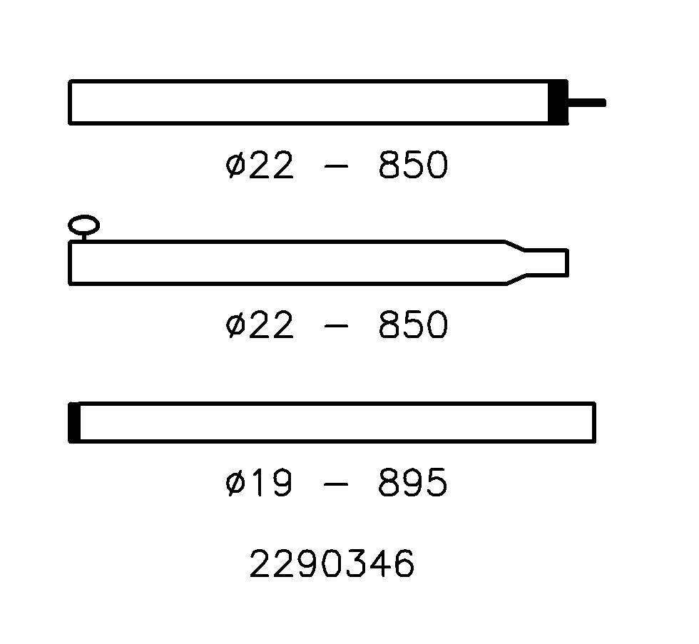 Tentstok Staal 22/19 mm; 180-250 cm