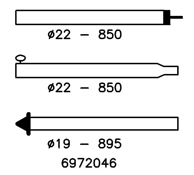 Tentstok Staal met puntdop 22/19 mm; 180-250 cm